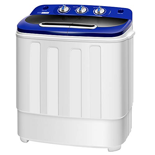 VIVOHOME Electric Portable 2 in 1 Twin Tub Mini Laundry Washer and Spin Dryer Combo Washing Machine with Drain Hose for Apartments 13.5lbs Blue & White