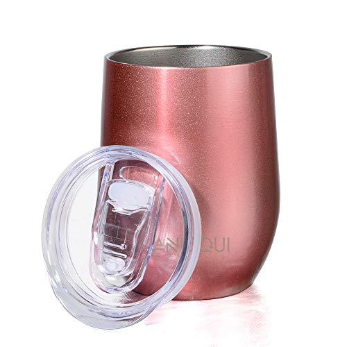 AniSqui Edelstahl Isolierbecher, Thermo-Becher, (Doppelwandig Vakuumisoliert Wein-Glas to go), Reisebecher mit Deckel für Kaffee, Tee (12oz 350ml) Roségold