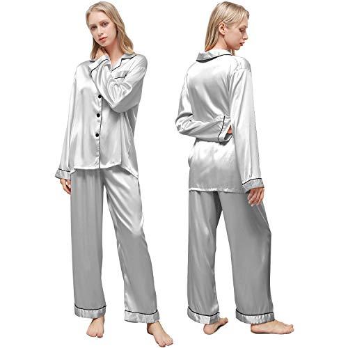 Ladieshow Pijamas Mujer Satén, Pijamas Set Manga Larga Elegante y Moda, Conjunto de Pijamas Seda para Mujer, Ropa de Dormir 2 Piezas Suave y Sedosa con Botones para Invierno, Primavera(Gris, S)