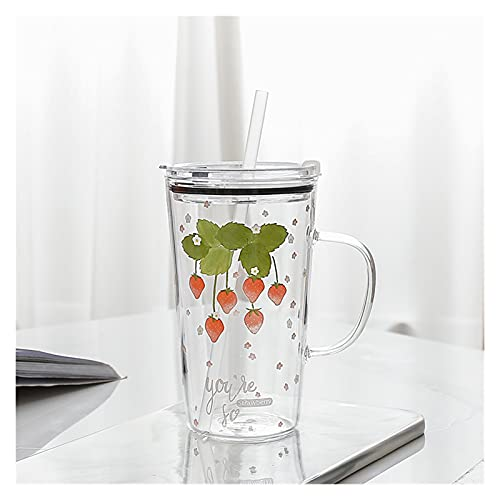 JSJJAQW Taza de Agua Taza de Cristal de la Fresa de 450 ml con la manija de la Paja Resistencia a Alta Temperatura Modelo de la Fresa Taza de la Leche (Color : C)