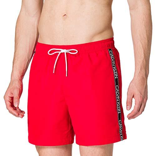 Calvin Klein Medium Drawstring Costume a Pantaloncino, Rosso Fierce, S Uomo
