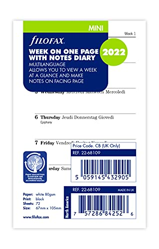Filofax - Agenda settimanale 2022, con 4 pagine