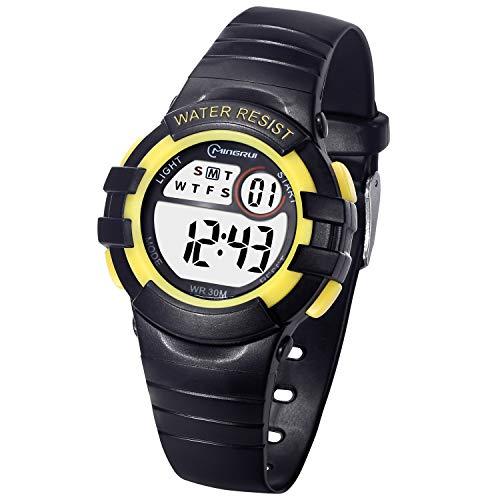 Reloj Digital Deportivo para Niños, Reloj de Pulsera Niña Multifunción con Pantalla LED Impermeable para Niños, Niñas Reloj Infantil Aprendizaje para Niños 4-15 Años (Negro-Amarillo)