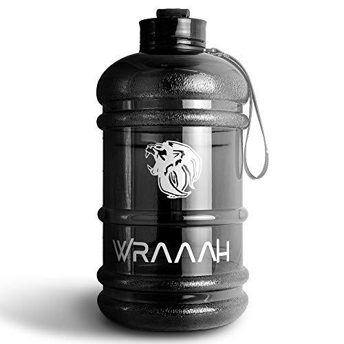 WRAAAH Trinkflasche Sport 2L - Extra Robuste 2 Liter XXL Fitness Flasche für Gym & Training - BPA Frei & 100% Auslaufsicher - Premium Water Bottle - Wasserflasche Groß - Schwarz