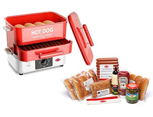 HOT DOG WORLD - Großer Party Hot Dog Maker / Steamer / Dampfgarer + BEEF Hot Dog Partypaket 12 Stück