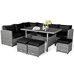 Sturdy Construction & Premium Rattan: Made of heavy-duty powder coated steel frame with premium rattan, this patio sofa set is strong and durable enough to withstand all-weather variations for long-lasting use. In addition, all the sofas and table ar...