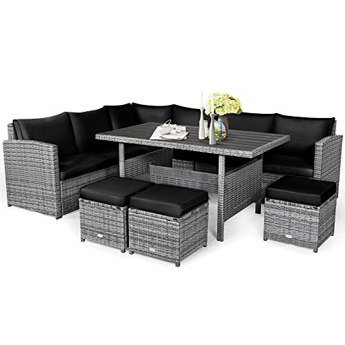 Tangkula 7 Pieces Patio Furniture Set, Outdoor Sectional Rattan Sofa Set with Cushions, All Weather Wicker Conversation Couch Set w/Dining Table & Ottomans for Backyard Garden Poolside (Black)