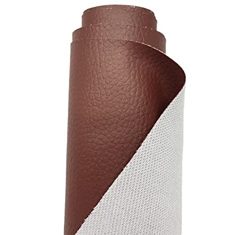 A-Express Tela de Grano de Cuero de Imitación Material Texturizado por Polipiel Vinilo Cojines Bolso - Marrón 1 Metro 100cm x 140cm