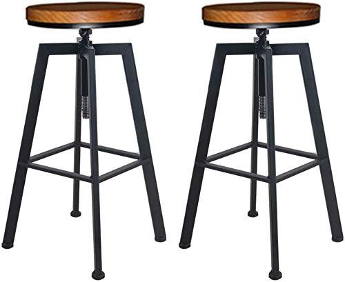 STOOL Schreibtischstühle , Barhocker Retro Industrial 2er-Set Frühstücksküchenstuhl Hocker rund Massivholz + Eisen Material verstellbar 60-80Cm