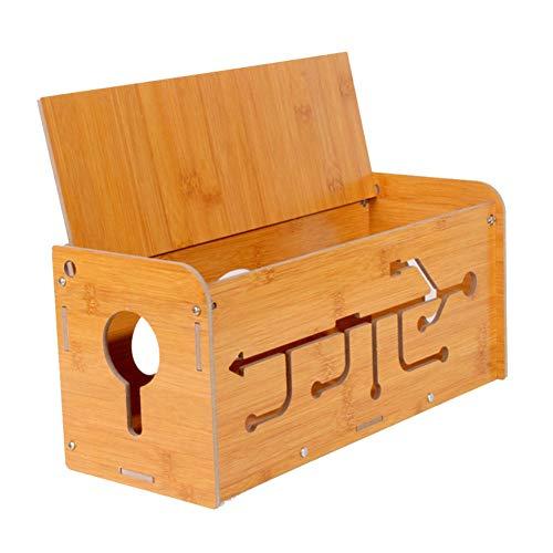 Kabelbeheerbox, houten kabelcollector, opberg- en beheerbox voor huishoudelijk voedingsbord, kabelorganisatie voor thuis en op kantoor