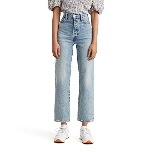 Levi's Women's Ribcage Straight Ankle Jeans, Worn Out, 28 (US 6)