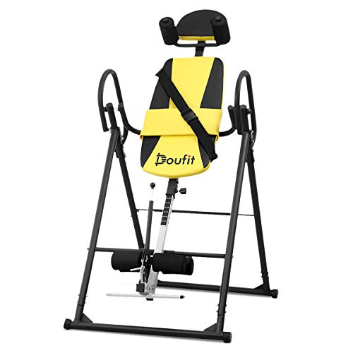 Doufit Inversion Table for Back Pain Relief, IT-03 Foldable Heavy Duty Inverted Back Stretch for Storage, Adjustable Inversion Therapy Gravity Table for Home Exercise with Shoulder Holder Safe Belt