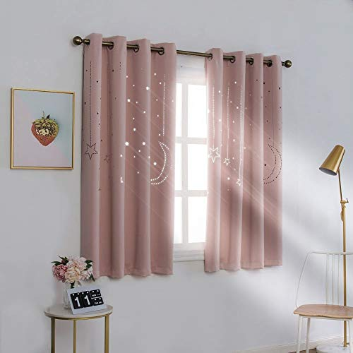 MANGATA CASA Kids Star Blackout Curtains Grommet Thermal 2 Panels for Bed Room,Cutout Galaxy Window Curtain Darkening Drapes for Nursery Living Room(Pink 52x63in)