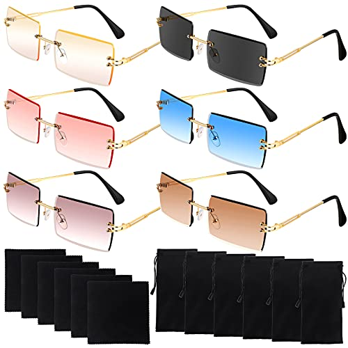[ SUNGLASSES SET ]- 6 pairs of rimless sunglasses in 6 different colors, 6 pieces of black cleaning cloths, and 6 pieces of black glasses bags, sufficient quantity and colors to meet daily needs. [ RIMLESS DESIGN, TINTED ]- It adopts a rimless frame ...