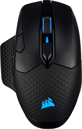 Corsair DARK CORE RGB PRO, souris gaming sans fil FPS/MOBA avec technologie SLIPSTREAM, noire, rétroéclairée RGB LED, 18 000 DPI, optique