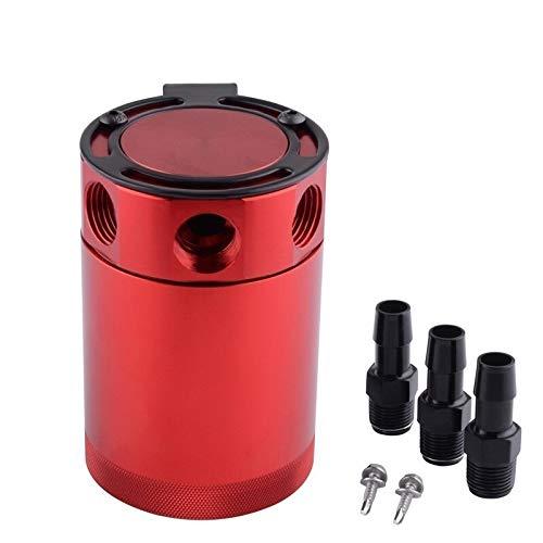 Aluminio Auto Racing desconcertado Separador de Aceite de Aire de 3 Puertos Captura de Aceite Can Tanque (Color : Red)