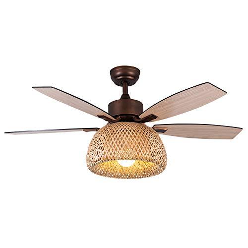 TGRBOP Ventilatore Da Soffitto Di Design Creativo Con Luci In Rattan Di Bambù 4 Pale In Legno Fan Light Lampadario In Bambù Dimmerabile Retrò Europeo Con Ventole Ventilatore Da Soffitto Silenzioso Con