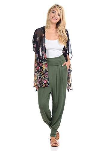 iconic luxe Women's Banded Waist Harem Jogger Pants with Pockets Small Olive