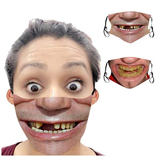 Lulupi 2 Stück Mundschutz Multifunktionstuch 3D Lustig Bandana Maske Waschbar Wiederverwendbar Stoffmaske Mundbedeckung Atmungsaktiv Mund-Nasenschutz Mund Nasen Motiv Halstuch Schals Herren Damen