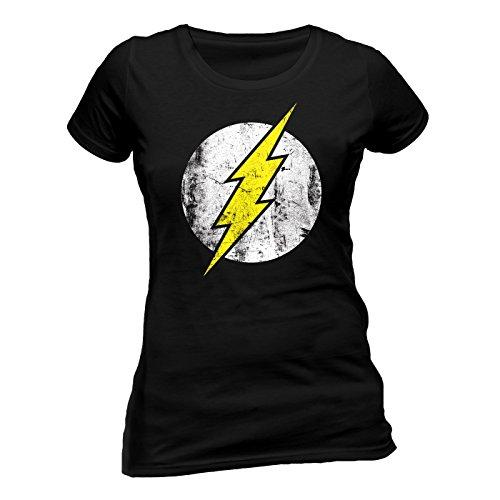 The Flash Logo Skinny Damen T-Shirt Offizielles Lizenzprodukt|schwarz-S