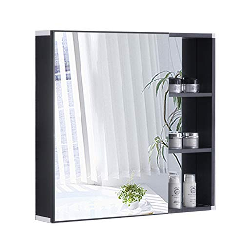 Spiegelschränke Space Aluminium Badezimmerspiegelschrank Spiegel Mit Regalen Toilettenschrank Kosmetikspiegel (Color : Black, Size : 60x13x68cm)