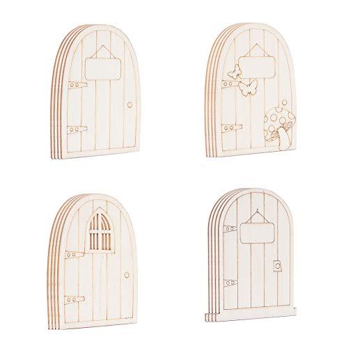 NBEADS 24 Piezas Piezas de Madera Sin Pintar Tema de Hadas Mini Forma de Puerta, 4 Patrones de Hadas de Madera Puerta de Jardín Miniatura Adornos Artesanales para la Decoración del Banquete