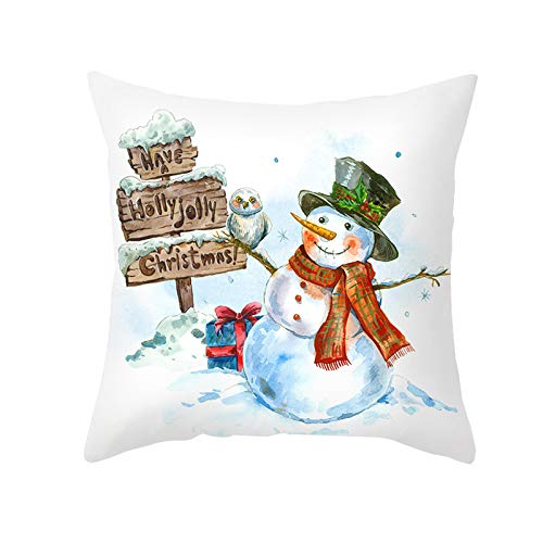 AOGOTO Christmas Pillow Cases Linen Sofa Cushion Cover Home Decor Letter Pattern Printing Pillow Case Xmas Gift For Family