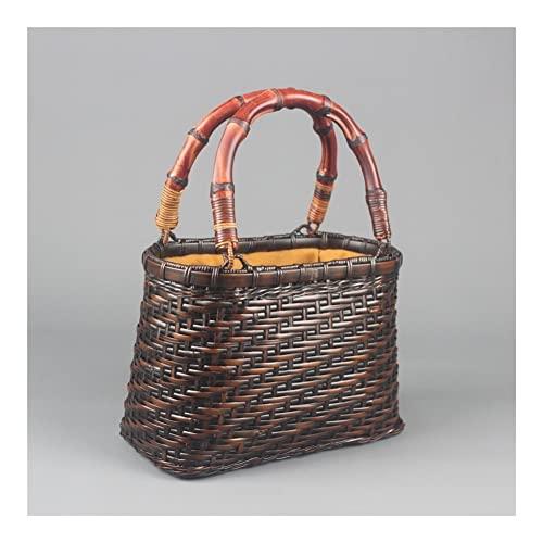 GOUDAN Bolso Tejido de bambú,Cesta Tejida,Bolso de Hombro for Mujer,Bolsa de Almacenamiento de té de bambú,Ceremonia de té COMERCIALIZADOR DE Bamboo