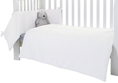 Clair de Lune Waffle Lit Bébé/lit bébé avec couette et bord de lit, Blanc