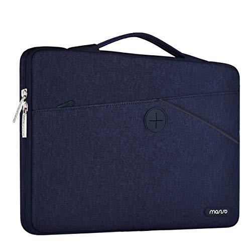MOSISO 360 °Schutz Laptoptasche Umhängetasche Aktentasche Handtasche Kompatibel 13-13,3 Zoll MacBook Air, MacBook Pro Retina, Stoßfester Beutel aus Polyester mit einziehbarem Griff, Navy Blau