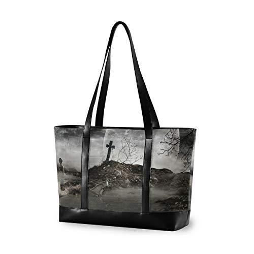 CPYang Laptop-Tasche, 39,6 cm (15,6 Zoll), Halloween, Grabstein, Leinen, Schultertasche, große Handtasche, für Arbeit, Business, Schule, Reisen