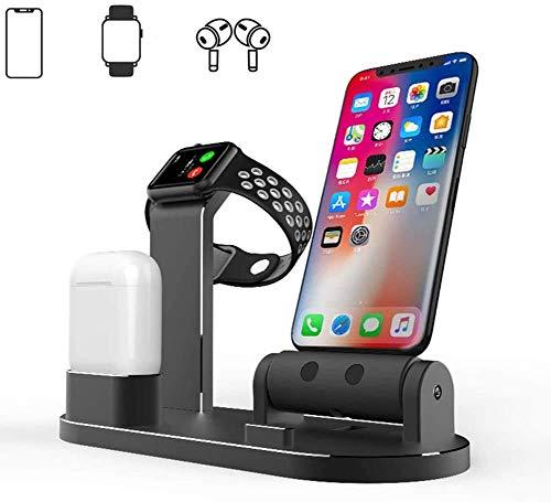 ZWMM Estación de Carga Rápida Cargador rápido inalámbrico Soporte de Carga Negro para Apple Watch, Soporte para teléfono de Carga de Aluminio, para Airpods/Watch Series/iPhone