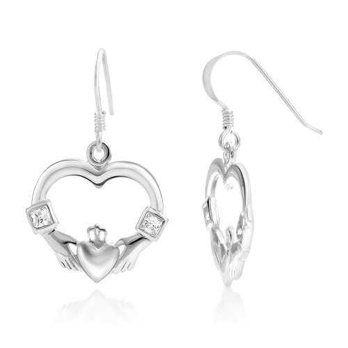 925 Sterling Silver Celtic Claddagh Friendship and Love Symbol Heart Shaped Dangle Hook Earrings