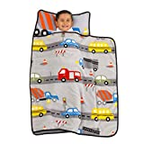 Everything Kids Grey, Red, Yellow & Blue Construction Toddler Nap Mat with Pillow & Blanket Grey, Red, Blue, Yellow