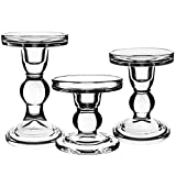 Centanni Essentials Clear Glass Candle Holders Set of 3 for Pillar Taper & Tealight Candles, Perfect Decoration Candlesticks Set