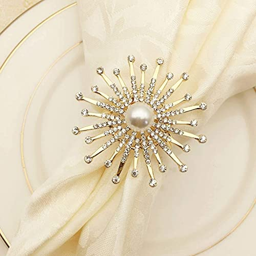 Daily Accessories 12pcs Flower Napkin Ring Metal Napkin Holder Pearl Beaded Christening Bangle Gold Silver Wedding Gifts Party Table Decoration (Color : Gold)