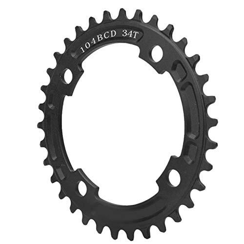 Shipenophy Bicicleta de un solo disco positivo y negativo Dientes Chainring 104BCD Mountain Bicicletas Equipo resistente al desgaste para montar en sendero ((34 dientes negro))