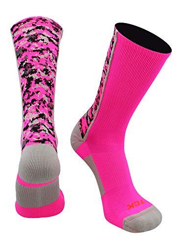 TCK Digital Camo Crew Socken, Jungen Damen Mädchen Herren, neon pink, Small