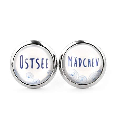 SCHMUCKZUCKER Damen Ohrstecker Ostsee-Mädchen Edelstahl Ohrringe Silber Blau Weiß 12mm