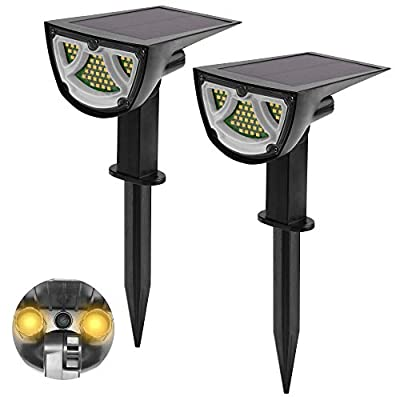 Gibot 43 LEDs Solar Landscape Spotlights, 2-in-1 Solar Spot Lights Outdoor Wireless Waterproof Solar Powered Wall Lights for Yard Garden Driveway Porch Walkway Pool Patio Pathway (Warm White-2 Pack )