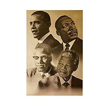 Canvas Print Wall Art Modular Pictures Malcolm X Martin Luther King Barack Obama Painting Nordic Poster Home Décor No Frame 18x24in