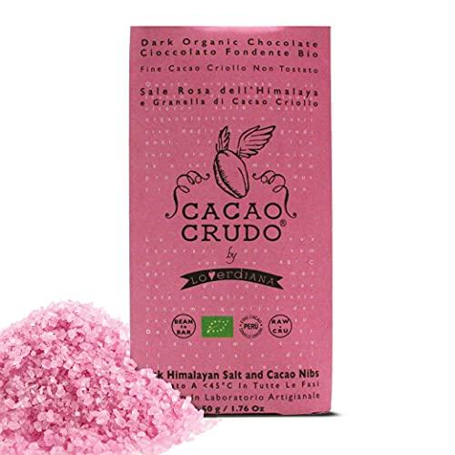 CiboCrudo Tavoletta di Cioccolato con Sale Rosa dell'Himalaya e Granella di Cacao, Biologica, Cacao Criollo 63%, Senza Aggiunta di Zuccheri Raffinati, Marchio Cacao Crudo – 30 gr