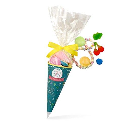 Zuckertüte Einschulung, bunte Schul-Tüte mit tollem Süßigkeiten-Mix, süße Geschenk-Idee