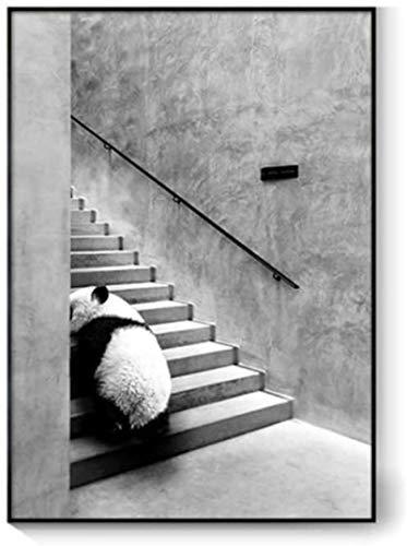 YaShengZhuangShi Leinwanddruck 50x70cm ohne Rahmen Nordic Schwarz-Weiß-Tier Panda Zebra Korridor Bild Wand Poster Malerei Kunst Home Decor