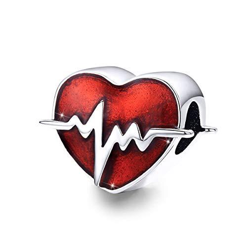 Charm a forma di cuore in argento smaltato rosso compatibile con braccialetti Pandora, collane per la festa della mamma