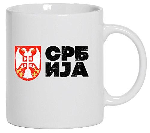 Wappen Srbija Belgrad Länder bedruckte Kaffeetasse Bürotasse mit Spruch Motiv Flagge Serbien 2, Größe: onesize,Weiß