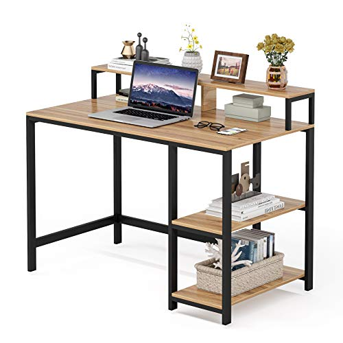 Tribesigns Computer Desk with Monitor Stand, Modern Study Writing Desk PC Laptop Desk for Home Office (Light Maple)