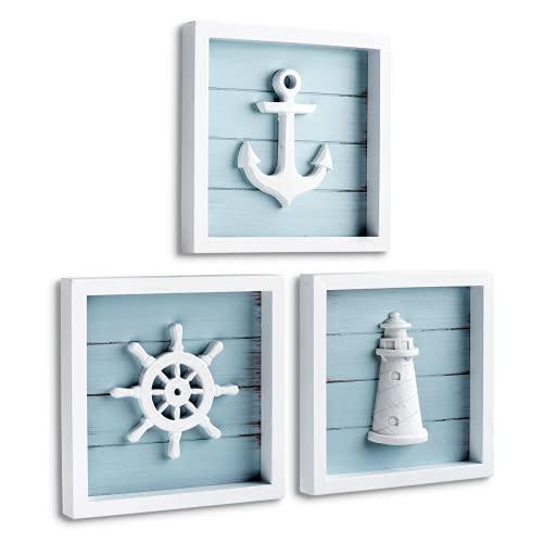 Anchor, lighthouse and ship wheel wall decor