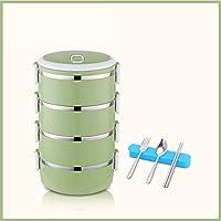 積み重ね可能なステンレス鋼の弁当箱,漏れ 熱 大人のための食器が付いている絶縁された食糧貯蔵容器 オフィス-l 25.5x14.5cm(10x6inch)
