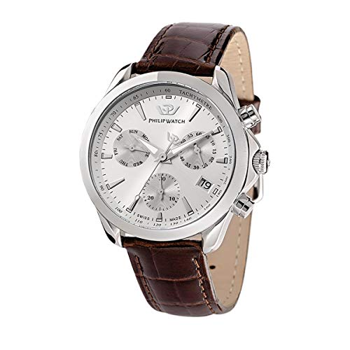 Philip Watch Herren Analog Quarz Uhr mit Edelstahl Armband R8271995001